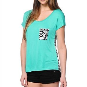 Empyre Teagan Aqua Green Tribal Print Dolman Shirt